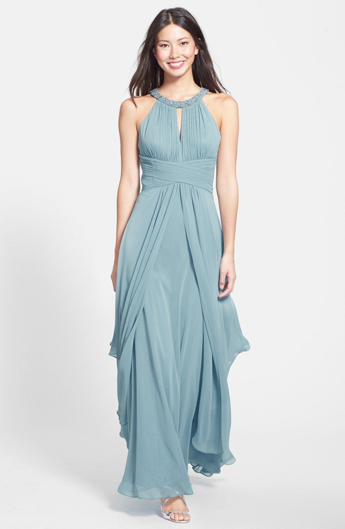 Women\'s Eliza J Embellished Tiered Chiffon Halter Gown | Nordstrom ...