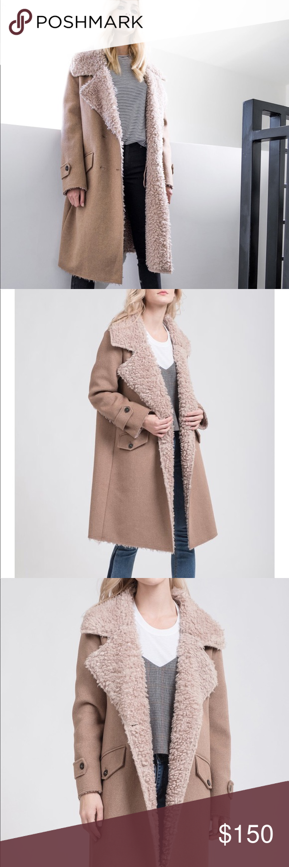 ✖️RESERVED✖️ J.O.A. FAUX FUR SHEARLING COAT FAUX FUR SHEARLING COAT. TAN. SIZE SMALL. NWT. NEW! J.O.A. Jackets & Coats Trench Coats
