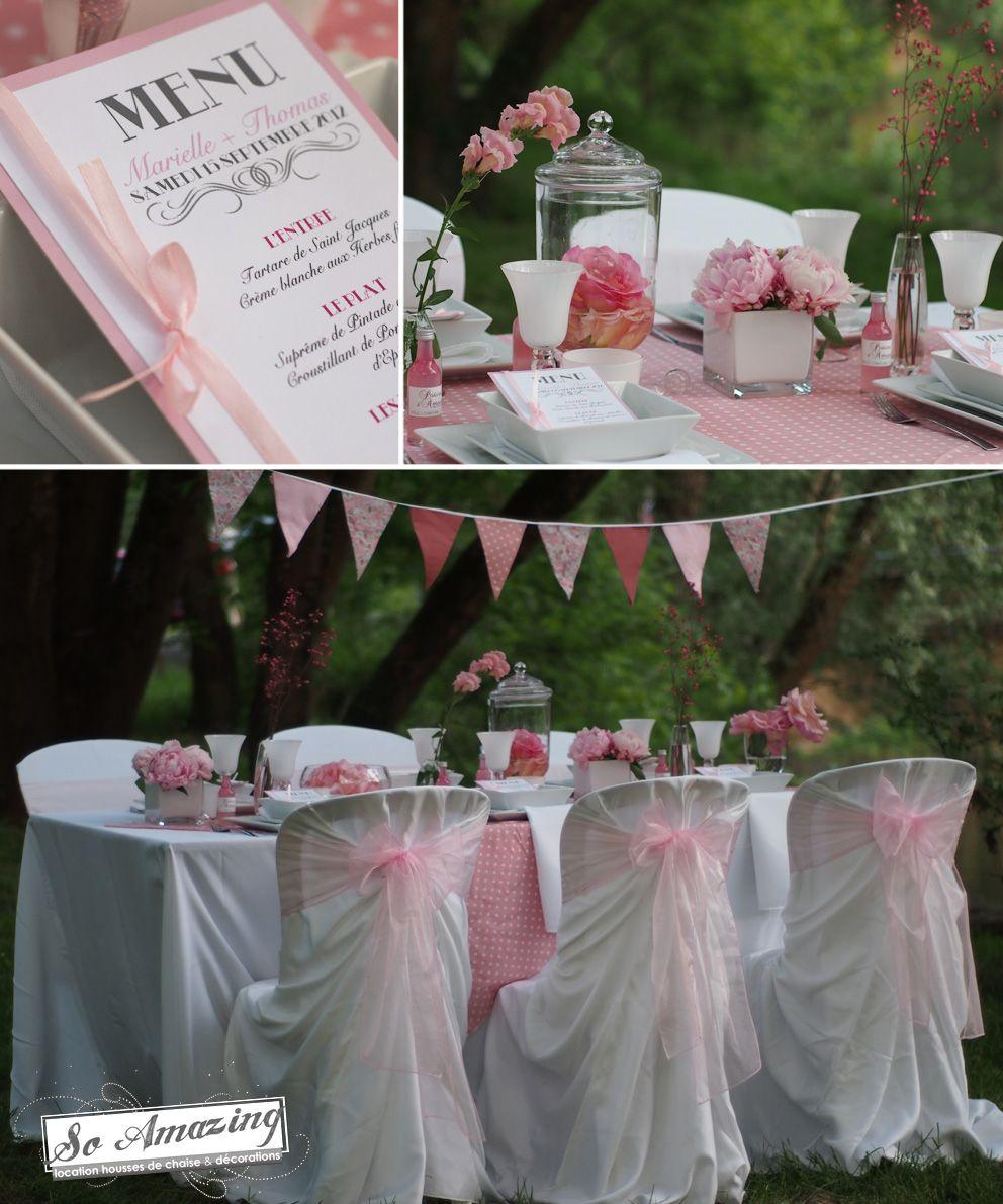 Printemps gourmand location housses de chaise bistro d coration florale table rose pale id e - Deco table rose ...