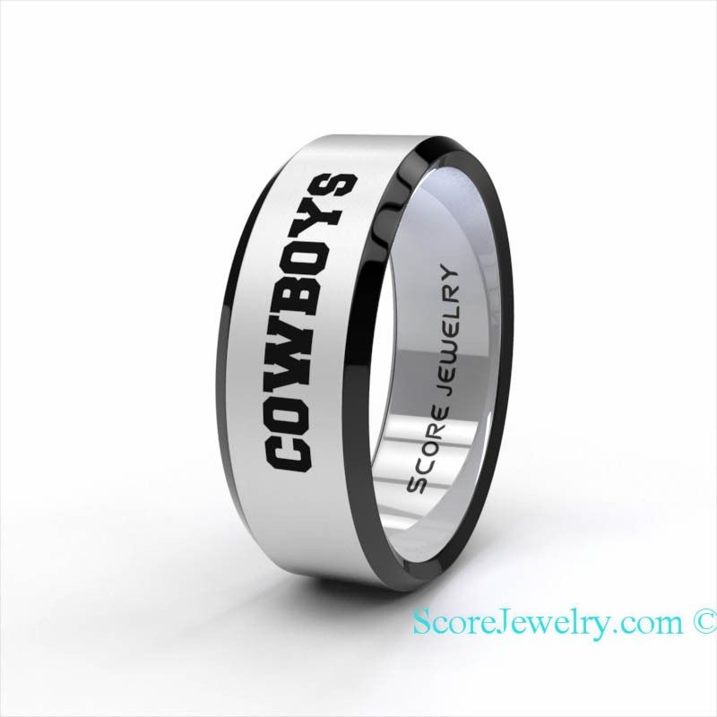 Tungsten Band Ring Beveled Edge Mens Womens Ring NFL Football Dallas Cowboys Ring Birthday