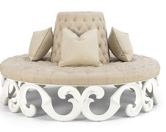 Round Outdoor Cushions Wooden Couch, Unlimited Furniture Group