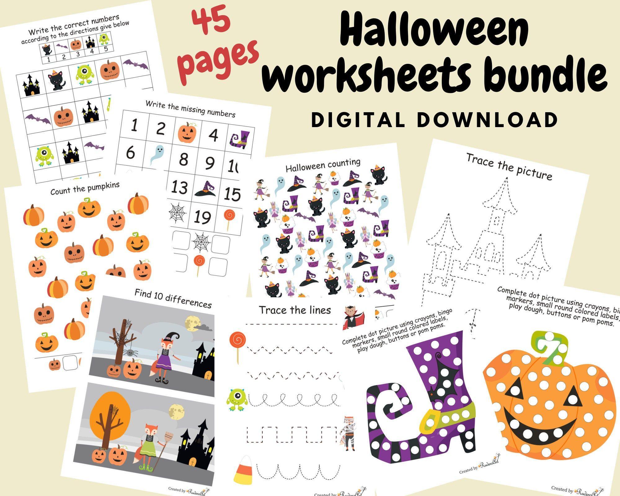 Halloween Worksheets Bundle For Kids Halloween Busy Book For Etsy In 2020 Halloween Worksheets Kindergarten Books Halloween Coloring Book [ 1600 x 2000 Pixel ]