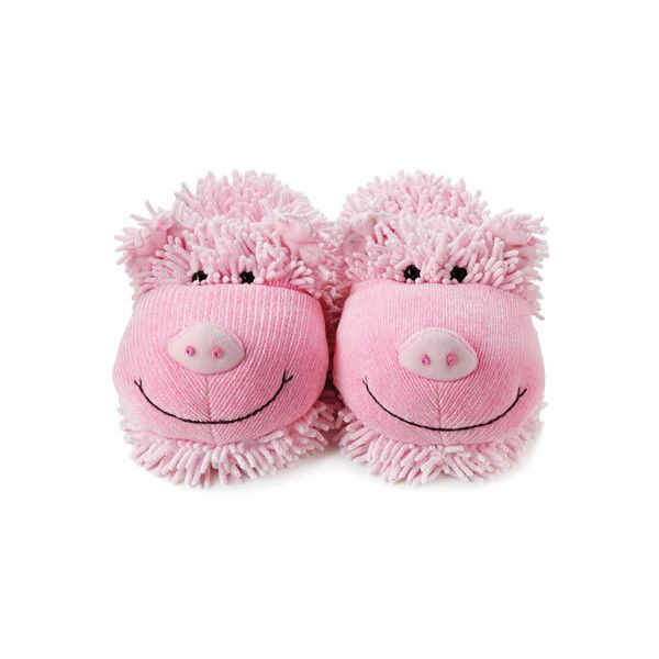 Aroma Home Fuzzy Feet Slippers Pig (22 AUD) ❤ liked on Polyvore featuring shoes, slippers and sleepwear