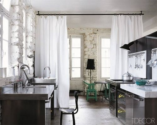 A Kitchen With Room Dividing Curtains Room Divider Curtain