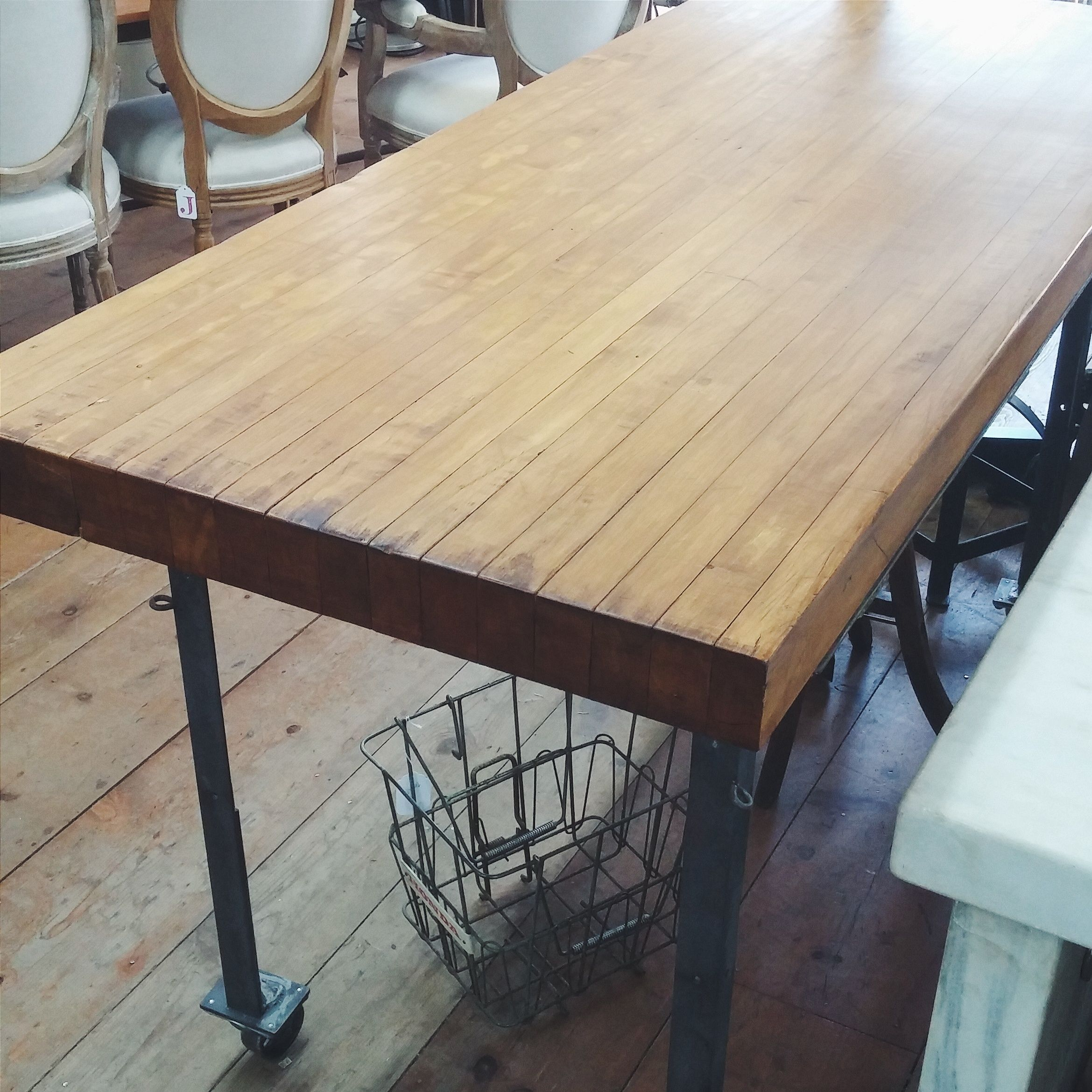Industrial Counter ~ Old Wood Butcher Block Top W/Old Steel Angle Iron Base  On