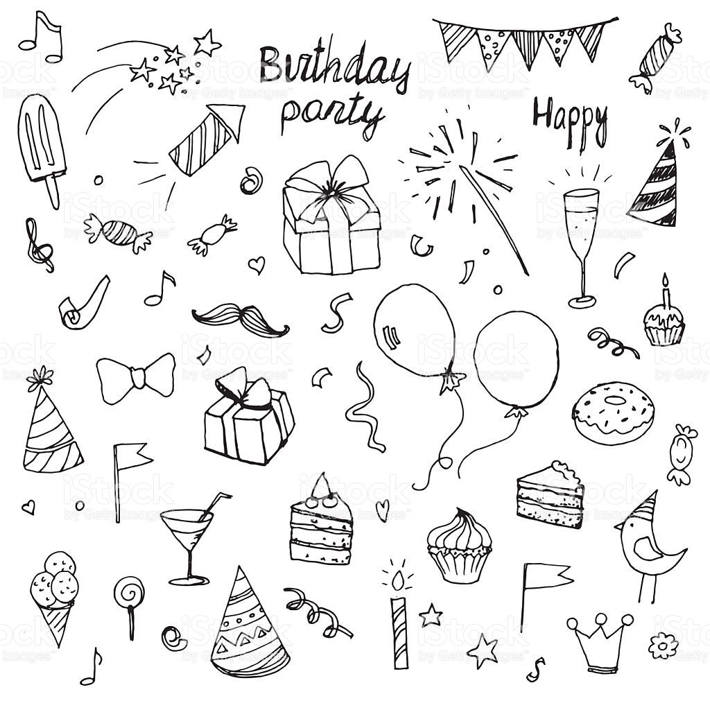 birthday doodle collection drawn hands elements Lizenzfreies vektor illustration