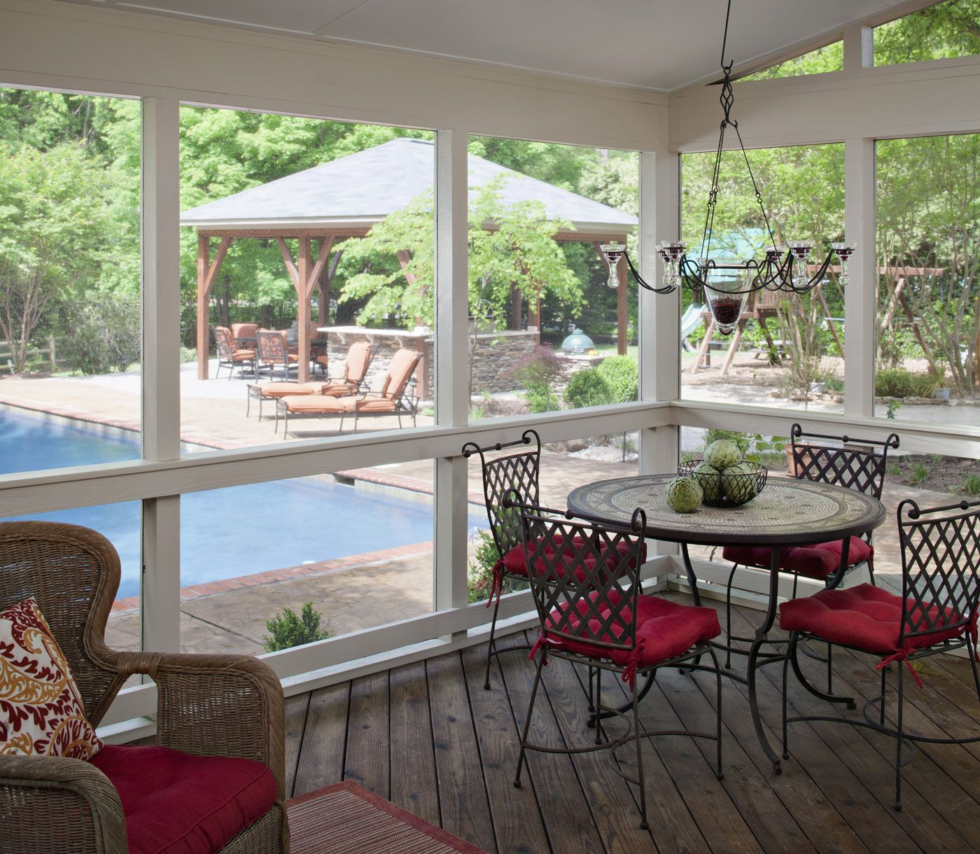 Enclosed Porch Decorating Ideas: Winston Salem Screened Porch Overlooking Pool