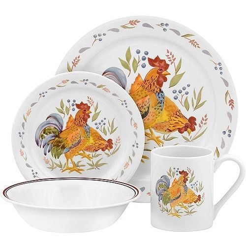 Dishes Corelle Rooster Set Plates Kitchen Dining Country Chicken Dinnerware