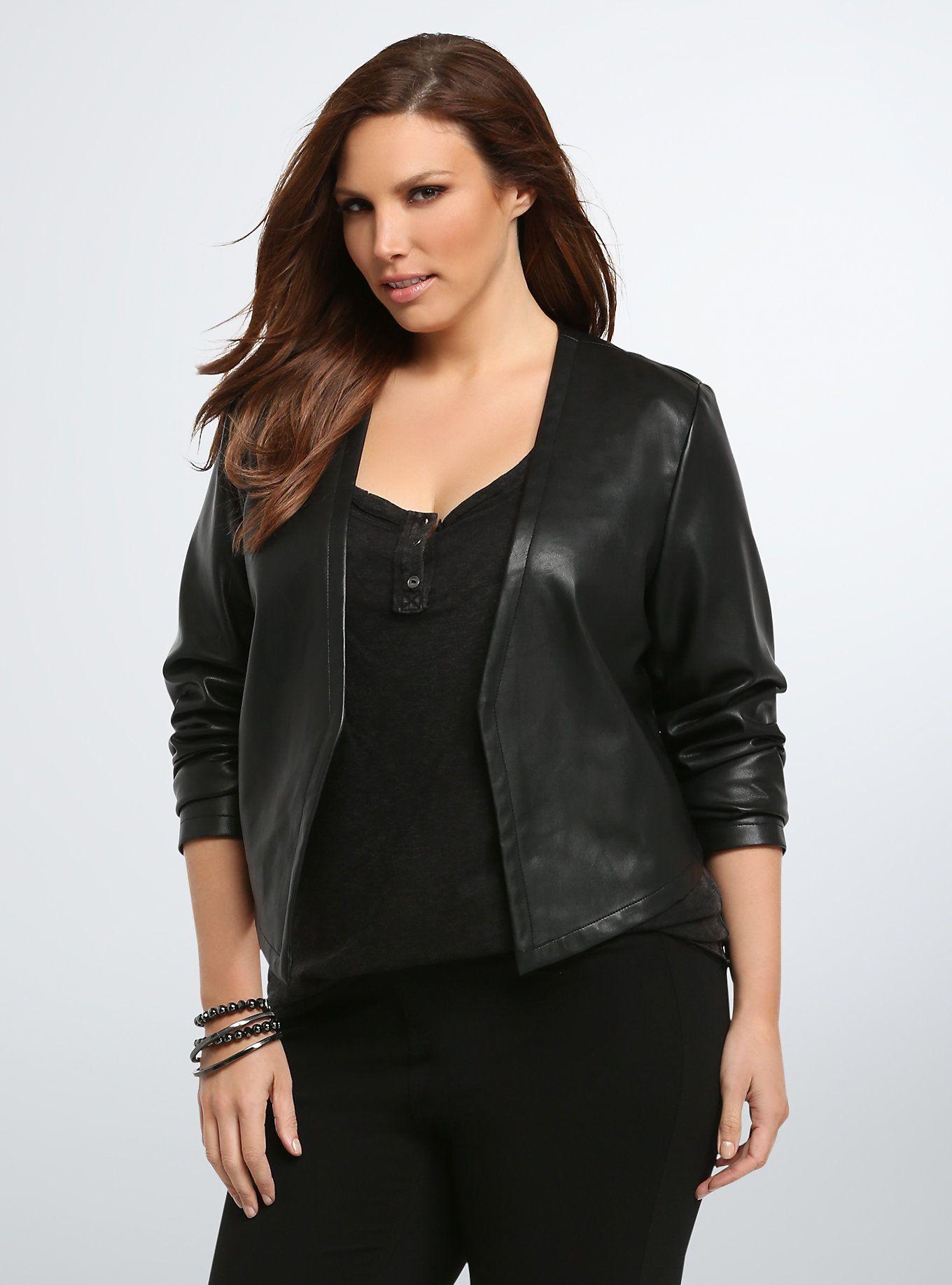 Beaded Back Faux Leather Jacket Plus size clothing sale