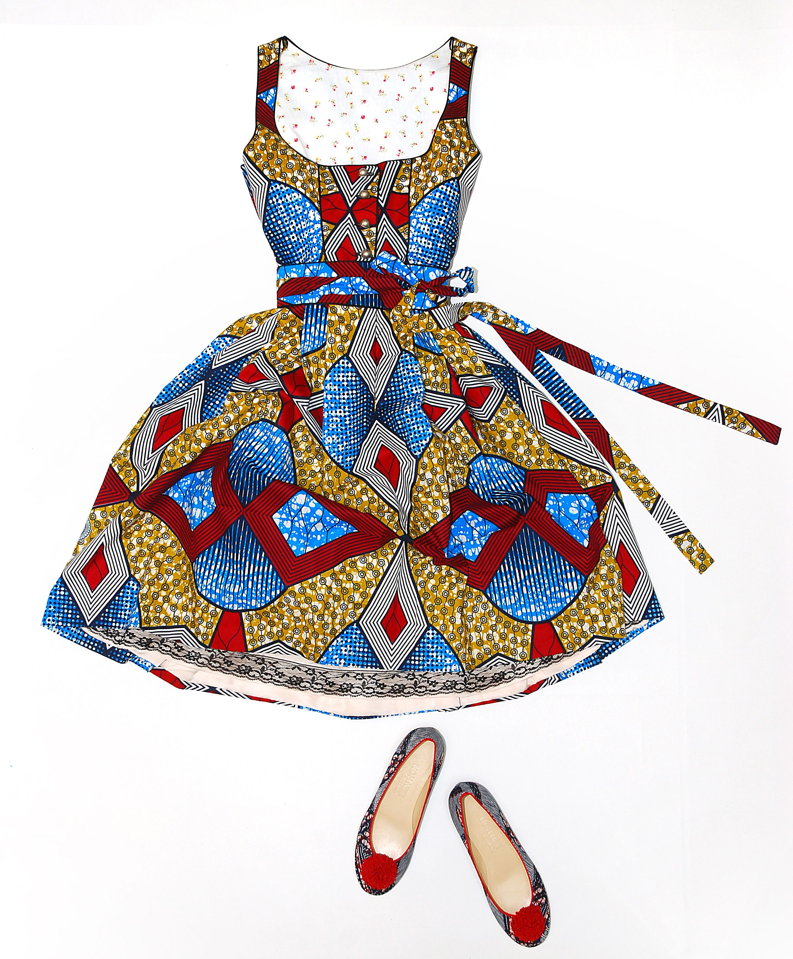 Colourful African dirndl dress by Noh Nee