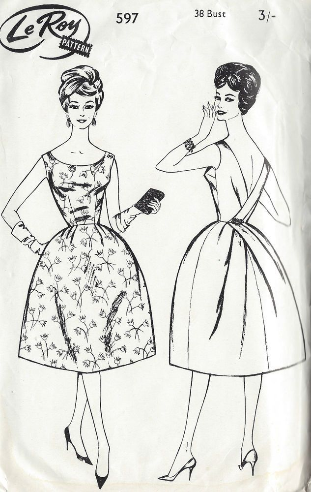 1960s Vintage Sewing Pattern B38 DRESS (1316) | Pinterest ...