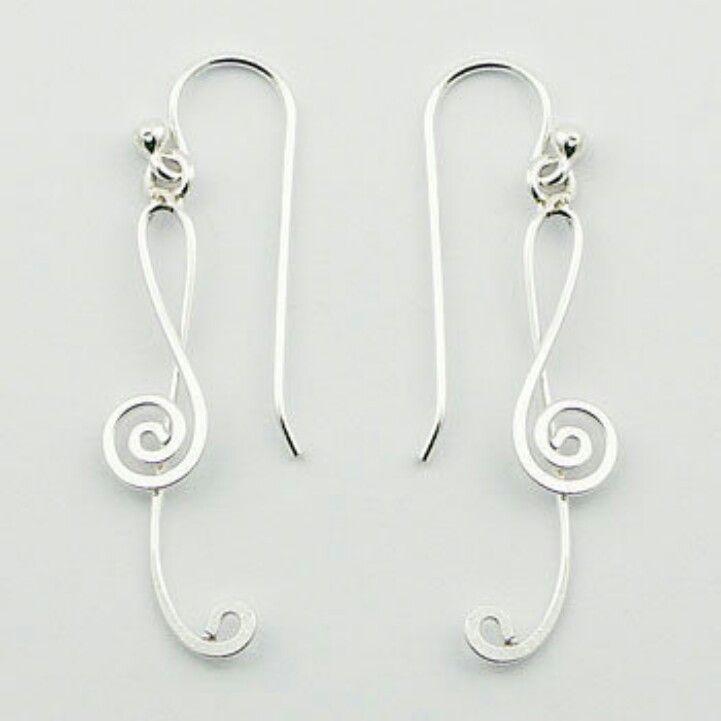 Wire music note earrings