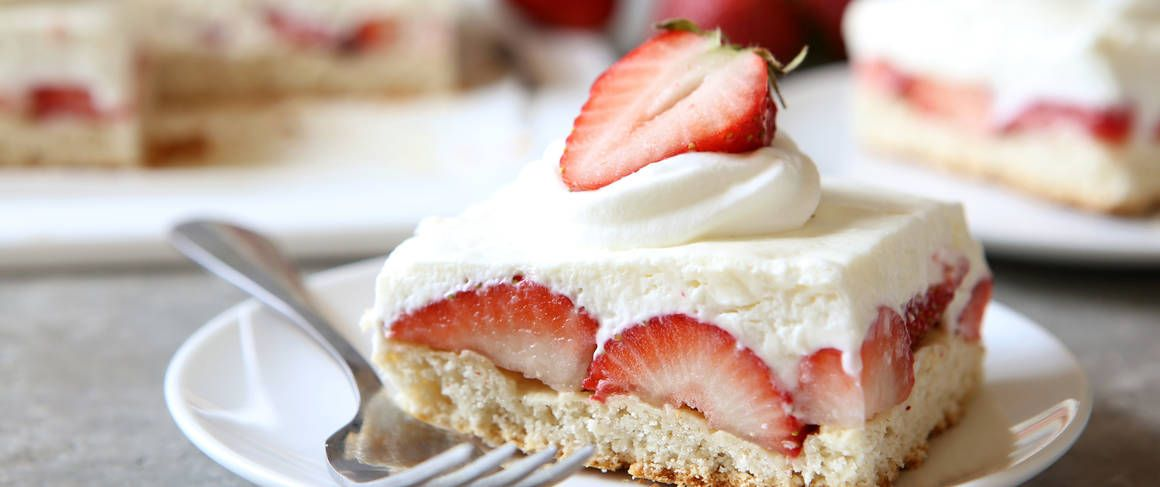 Strawberry shortcake and creamy cheesecake make this irresistibly sweet treat that will be an instant hit at any summer party.