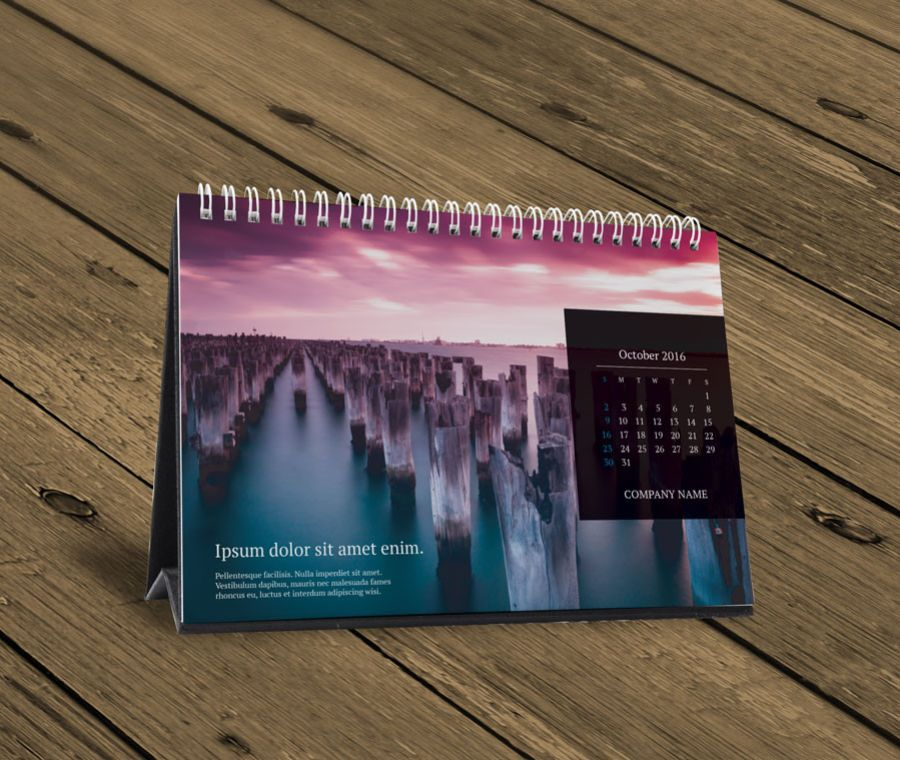 Desk Table calendar 2016 design template KB10-W13d | calendars ...