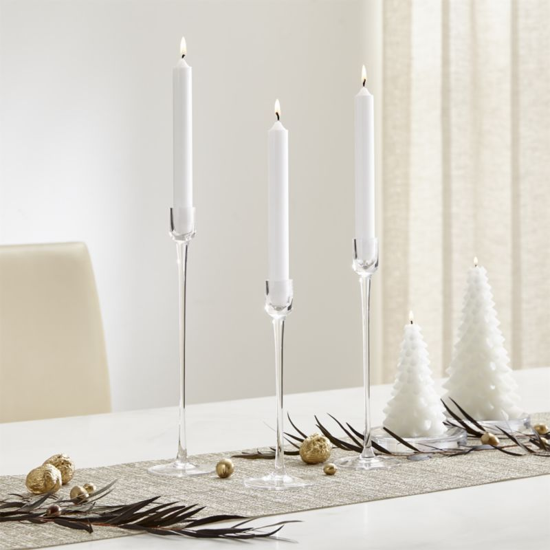 Shop London Glass Taper Candle Holder.  Like a wine glass for candles, this graceful clear glass taper candleholder features a cupped base and a slim stem for a timeless design that suits any setting.