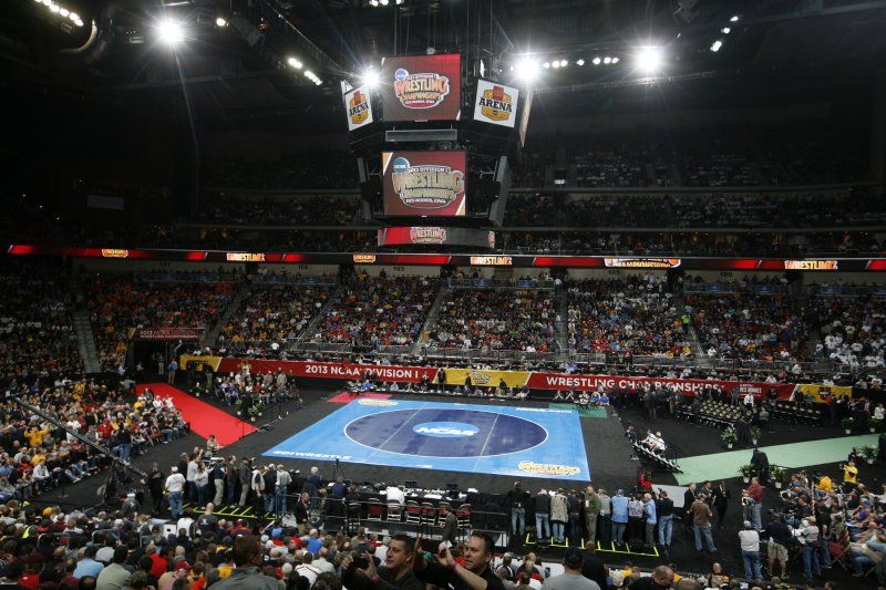 The crowd waits for wrestling to begin at the NCAA