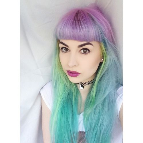 Pastel Purple Pink Green Blue Timber Wood Look: Pastel Purple Green Blue Hair By Jingleheartart