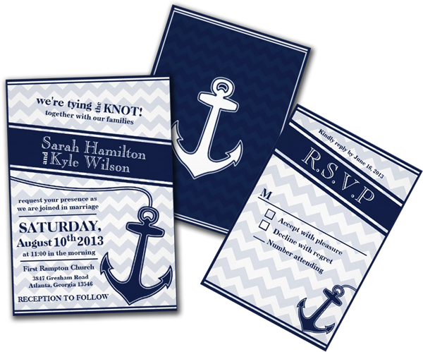 Nautical Chevron Navy Blue Wedding Invitation – Nautical Theme Wedding Invitations