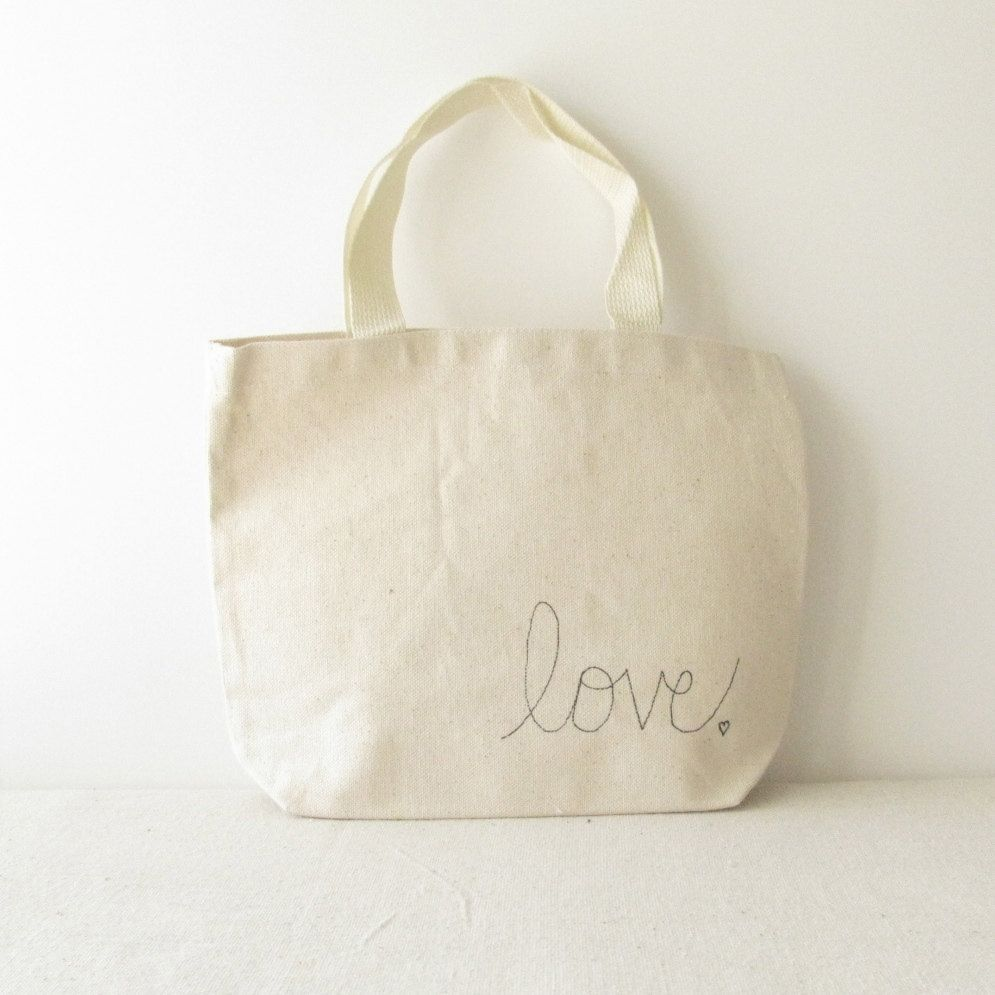 Small Canvas Tote Bag - Love Tote Bag - Valentines Day Bag - Hand Written