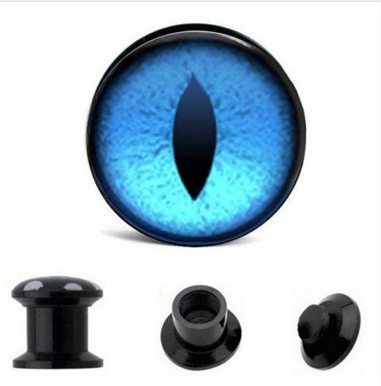 Pair BLUE eye acrylic plugs screw fit gauge ear piercing eyeball cat #Unbranded