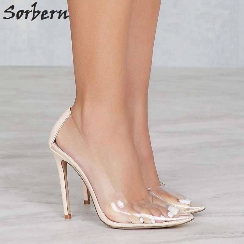 5fb5f2387342 Sorbern Clear Plastic Transparent PVC Pump Club Party Pump Shoes Woman  Custom Color Foot Wear Designer Shoes Women High Heels