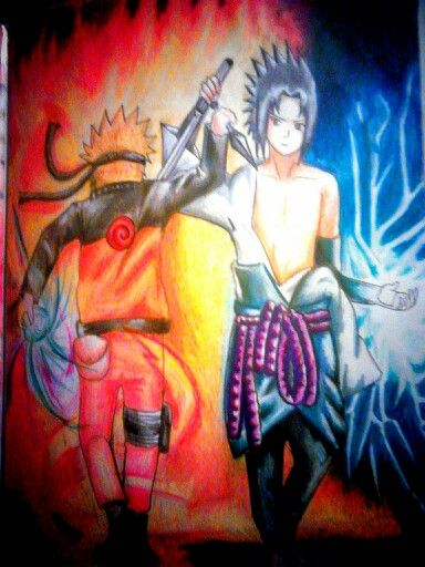 My Colored Pencil Drawing Of Sasuke And Naruto With Images