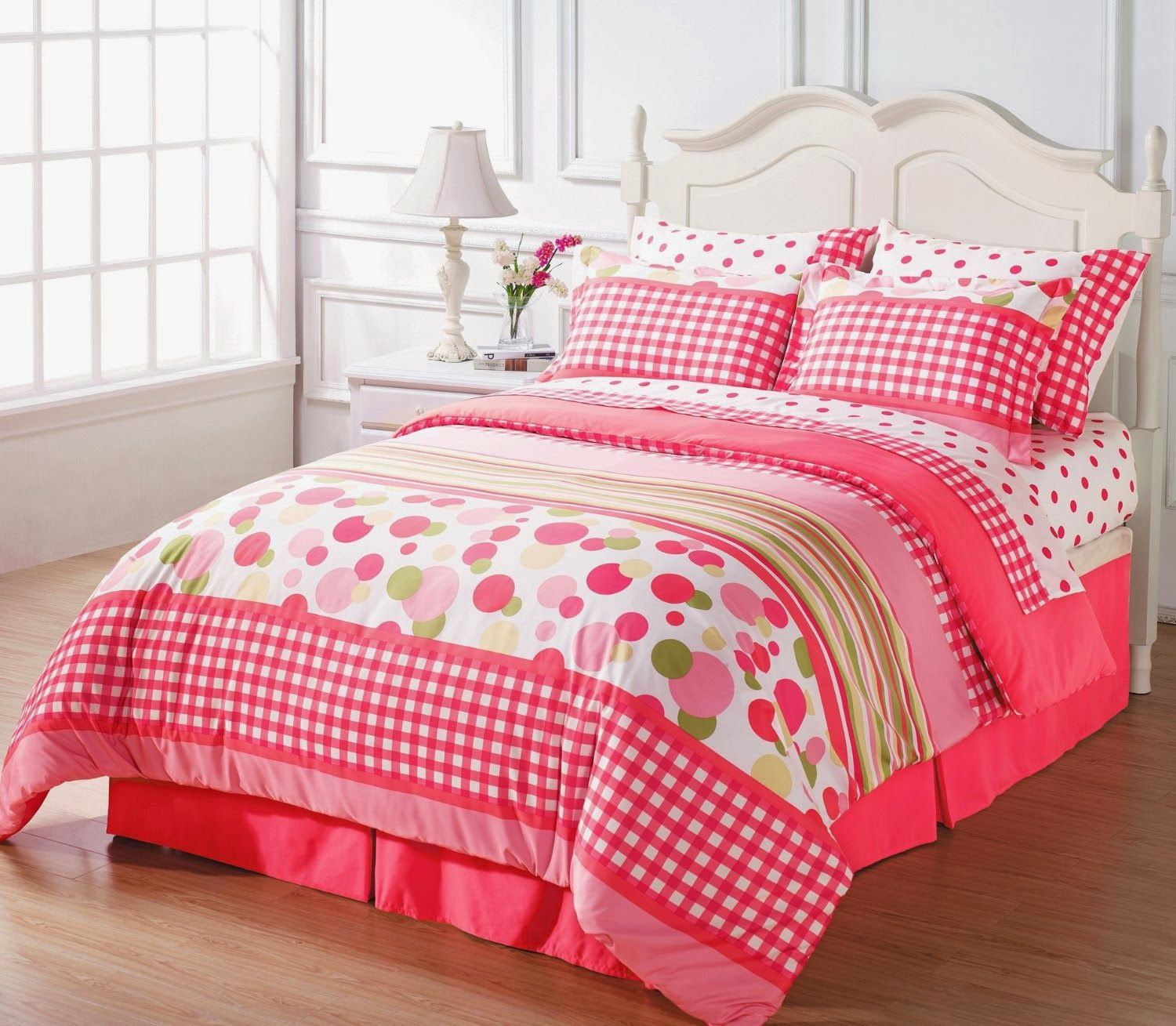 chezmoi collection soft pink white green polka dot plaid bed in a bag comforter with sheet set queen