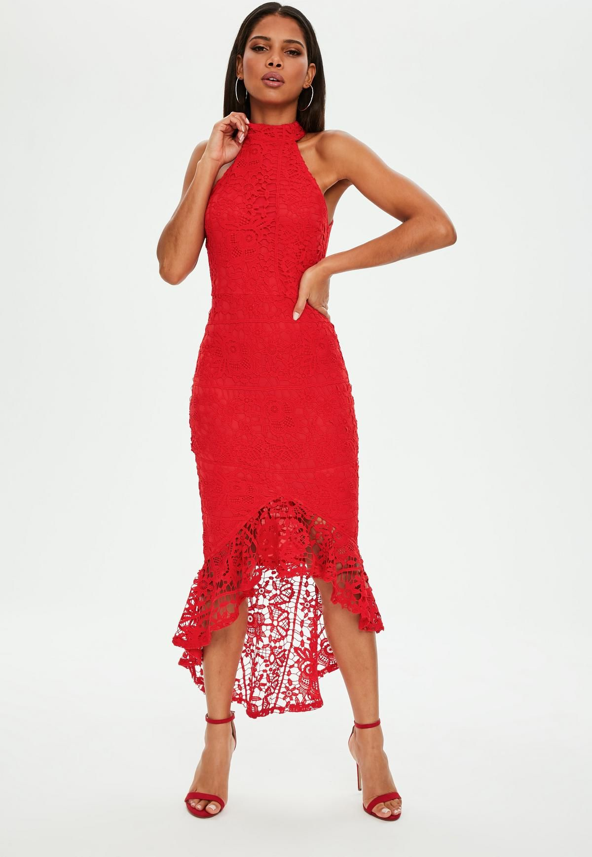 064c6a3cdd Red Lace High Neck Fishtail Midi Dress
