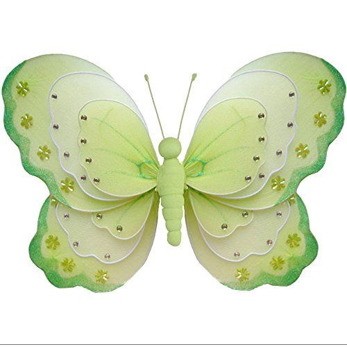 Hanging Butterfly 18\' X-Large Green White Triple Layered Nylon Mesh ...