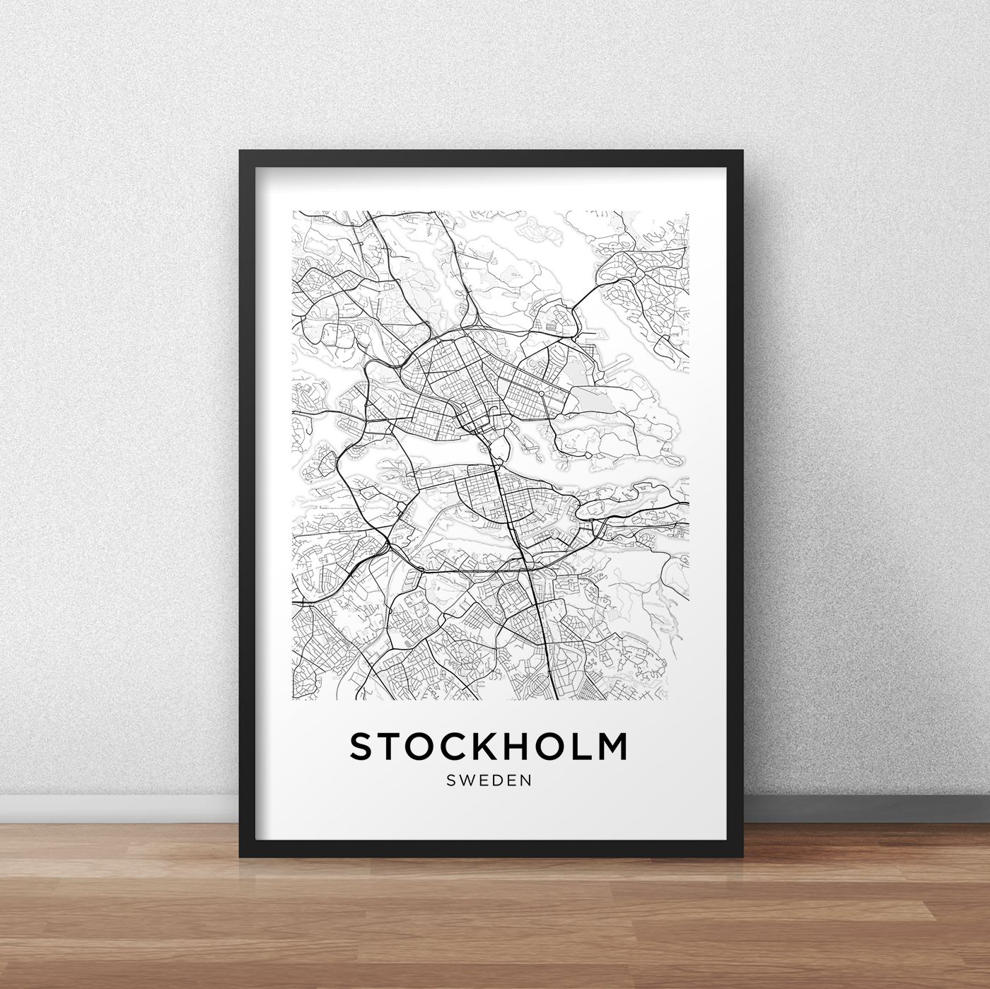 STOCKHOLM CITY MAP POSTER PRINT MODERN CONTEMPORARY TRAVEL IKEA FRAMES CITIES