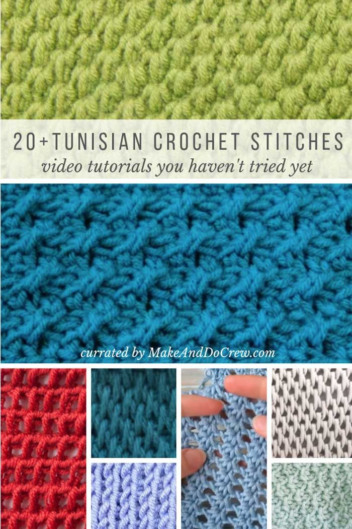 20+ Unique Tunisian Crochet Stitches - with step-by-step video tutorials! #tunisiancrochet