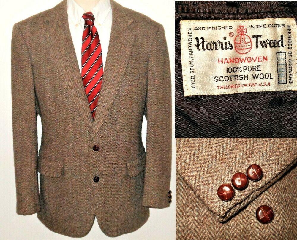Harris Tweed Sport Coat Wool Herringbone 40R Brown Blazer