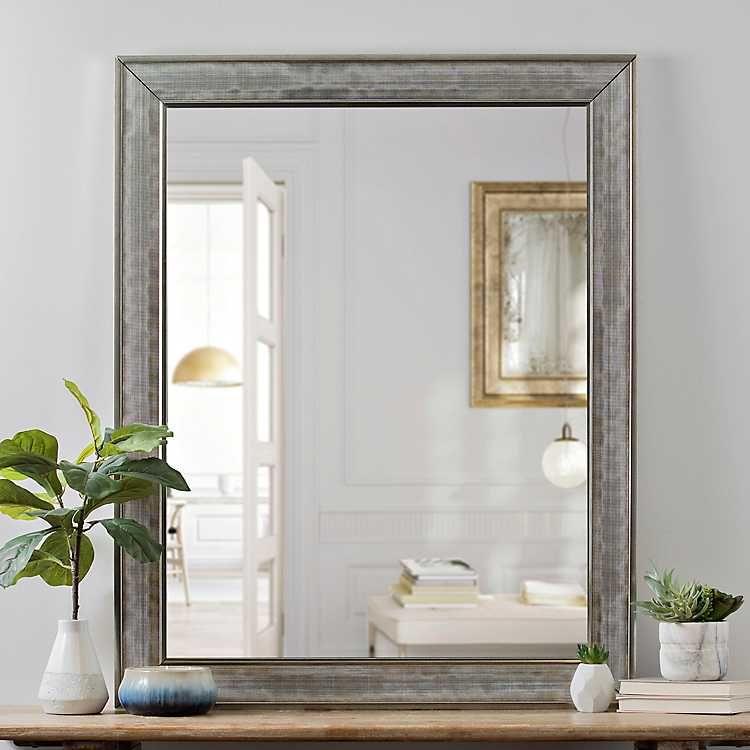 Silver Grid Framed Wall Mirror 38x48 In Mirror Wall Bedroom Framed Mirror Wall Rustic Wall Mirrors