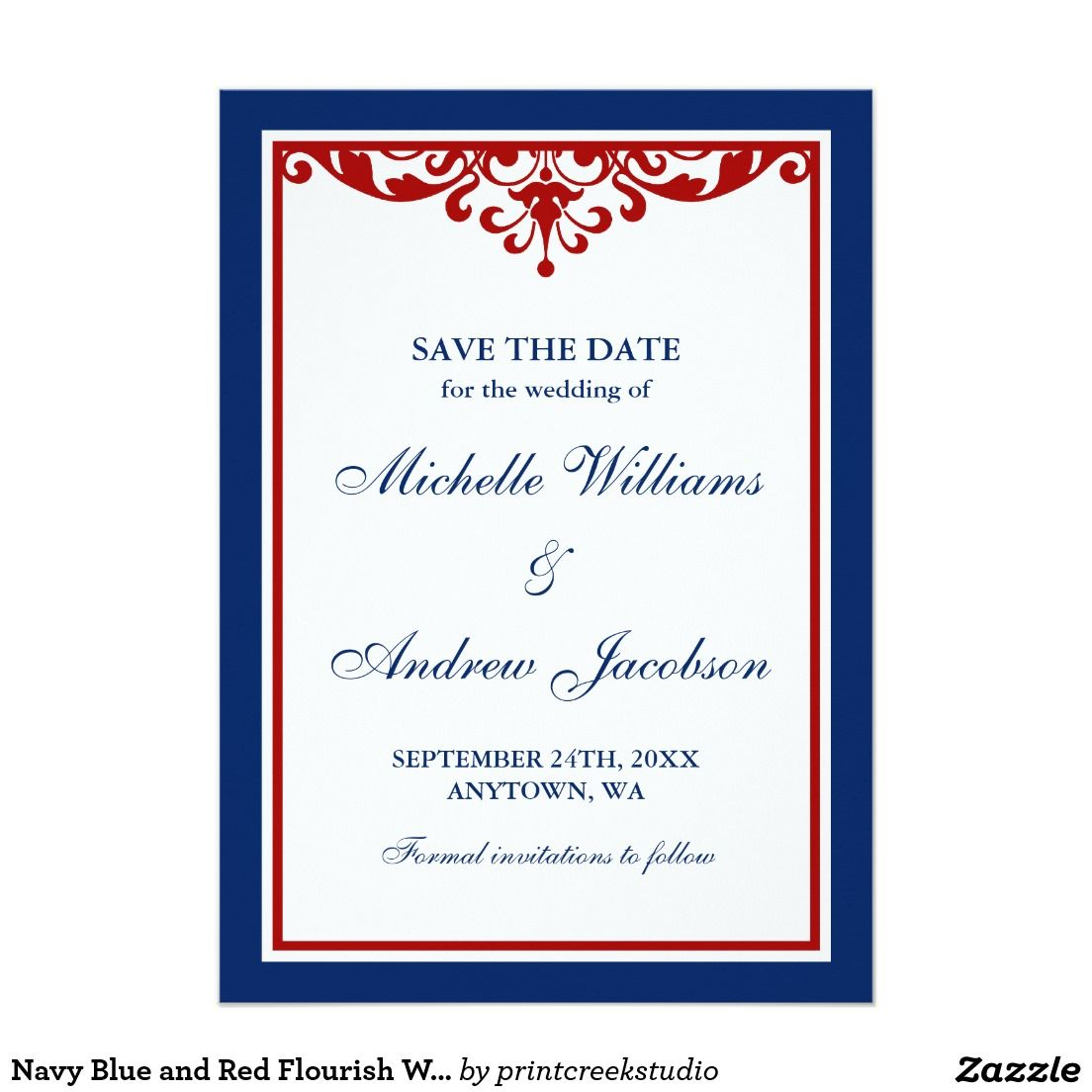 Navy Blue and Red Flourish Wedding Save the Date Card | Flourish and ...