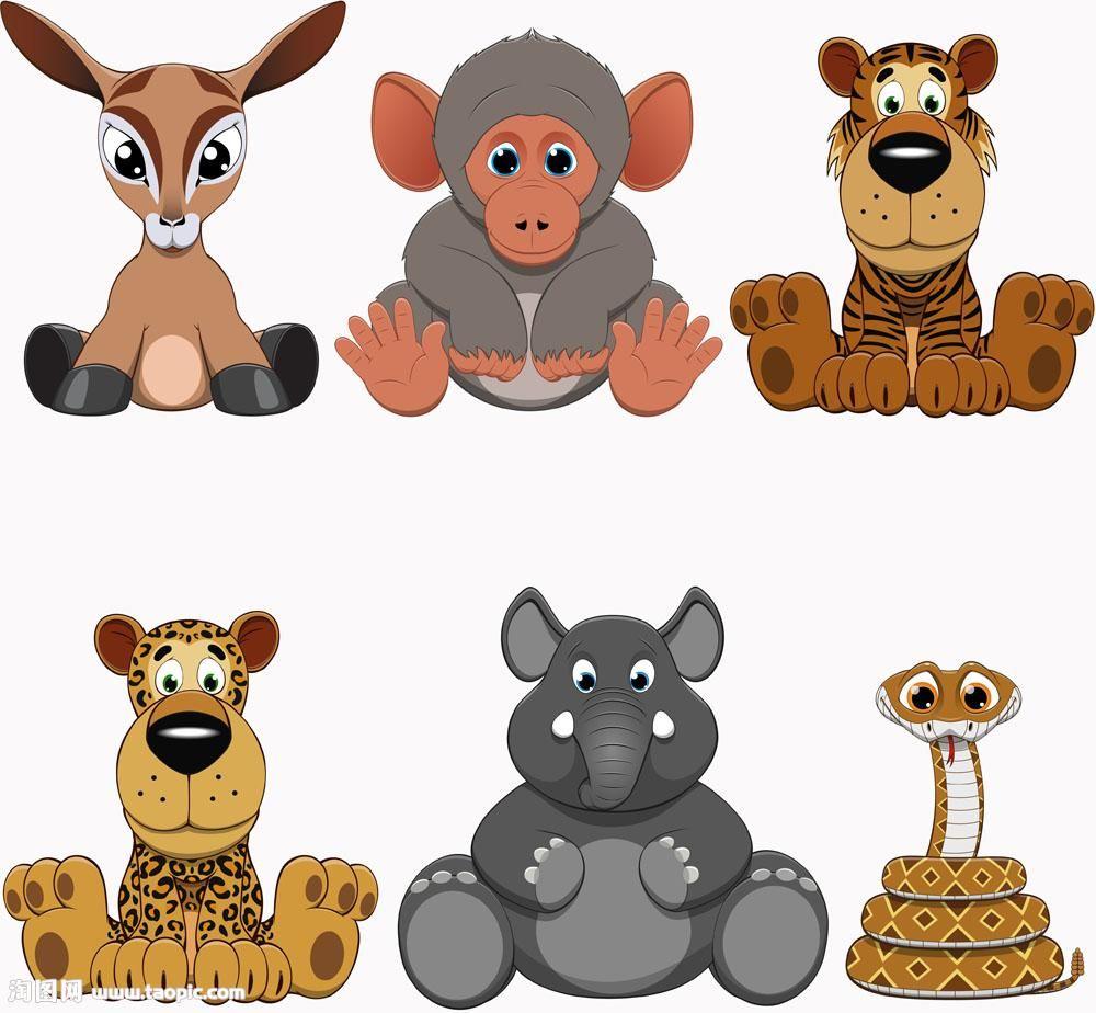 坐着的卡通动物 (With images)