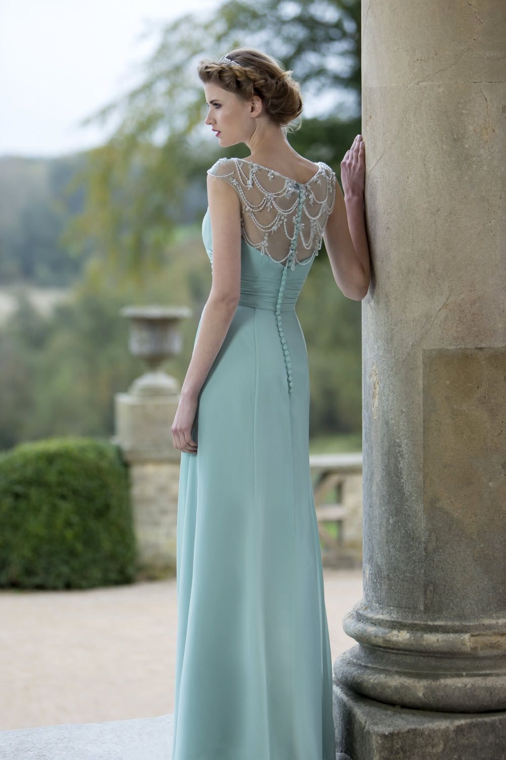 Definitely a statement back with this beaded chiffon bridesmaid ...
