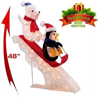 Christmas Decor 48 Polar Bear Penguin On Slide Lighted Pre Lit