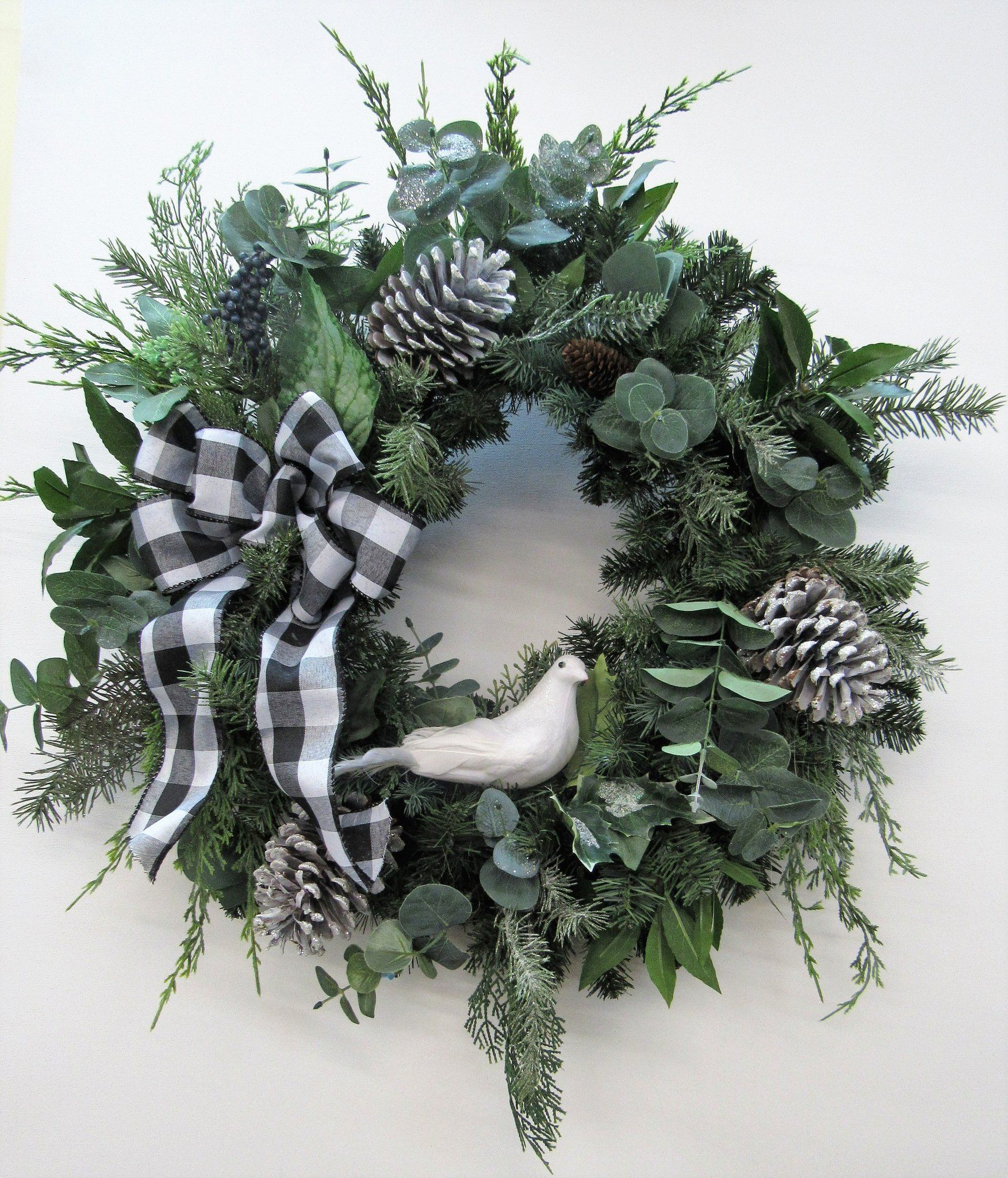 Photo of White and Green Silk Floral Transitional Winter Wreath with White Dove / Trans63