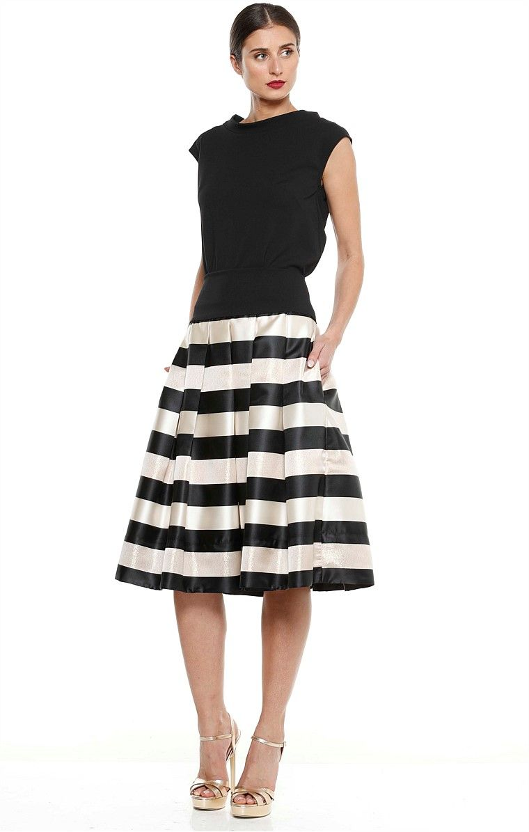 PALAZZO A-LINE KNEE LENGTH SKIRT IN BLACK GOLD STRIPE | PANTS ...
