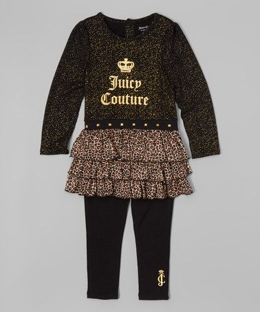 3e3af2cc52ed0 Another great find on #zulily! Black & Gold Logo Tunic & Leggings - Infant,  Toddler & Girls #zulilyfinds