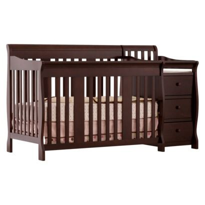 Storkcraft Portofino Crib Changer Combo In Espresso With Changing Table Attached Converts To A Toddler Bed Daybed Or Full Size 284 13