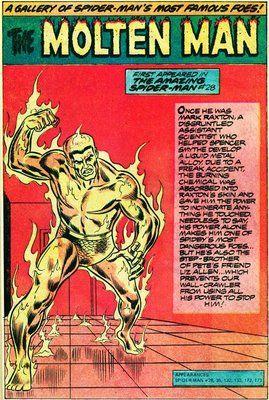 One of Steve Ditko's pinups of Spider-man villains: Molten Man