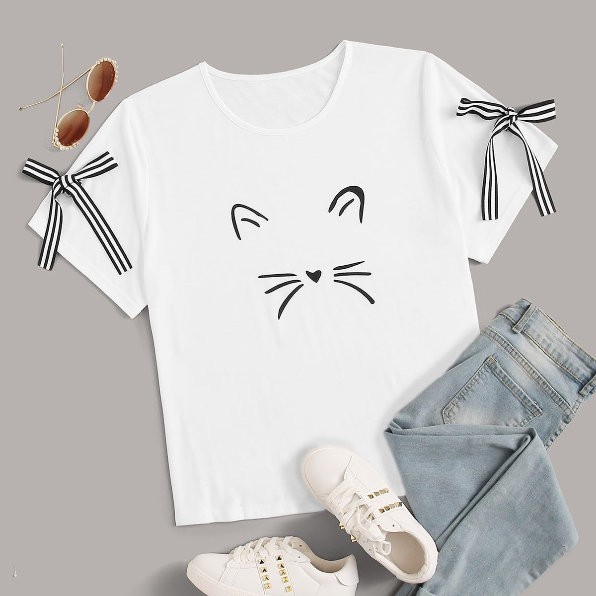 Plus Cartoon Graphic Bow Detail Tee White Casual Short Sleeve Polyester Cartoon Slight Stretch Summer Plus Size Tshirts size features areBust Length Regular Sleeve Length...