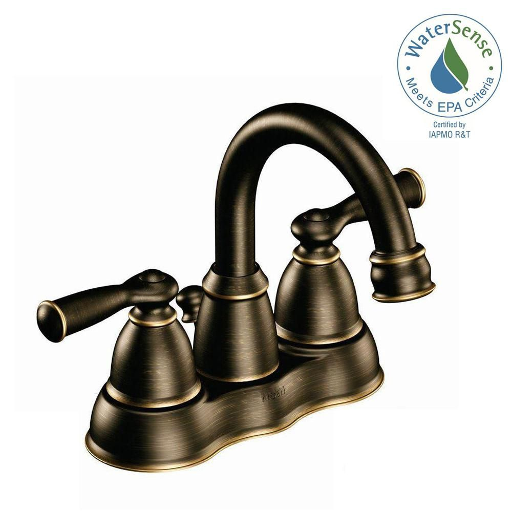 Moen Banbury 4 In Centerset 2 Handle High Arc Bathroom Faucet In