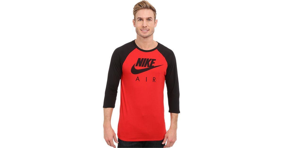 0f3d82f0 Nike Air 3/4 Raglan Tee in Red for Men   Lyst   Raglan   Raglan tee ...