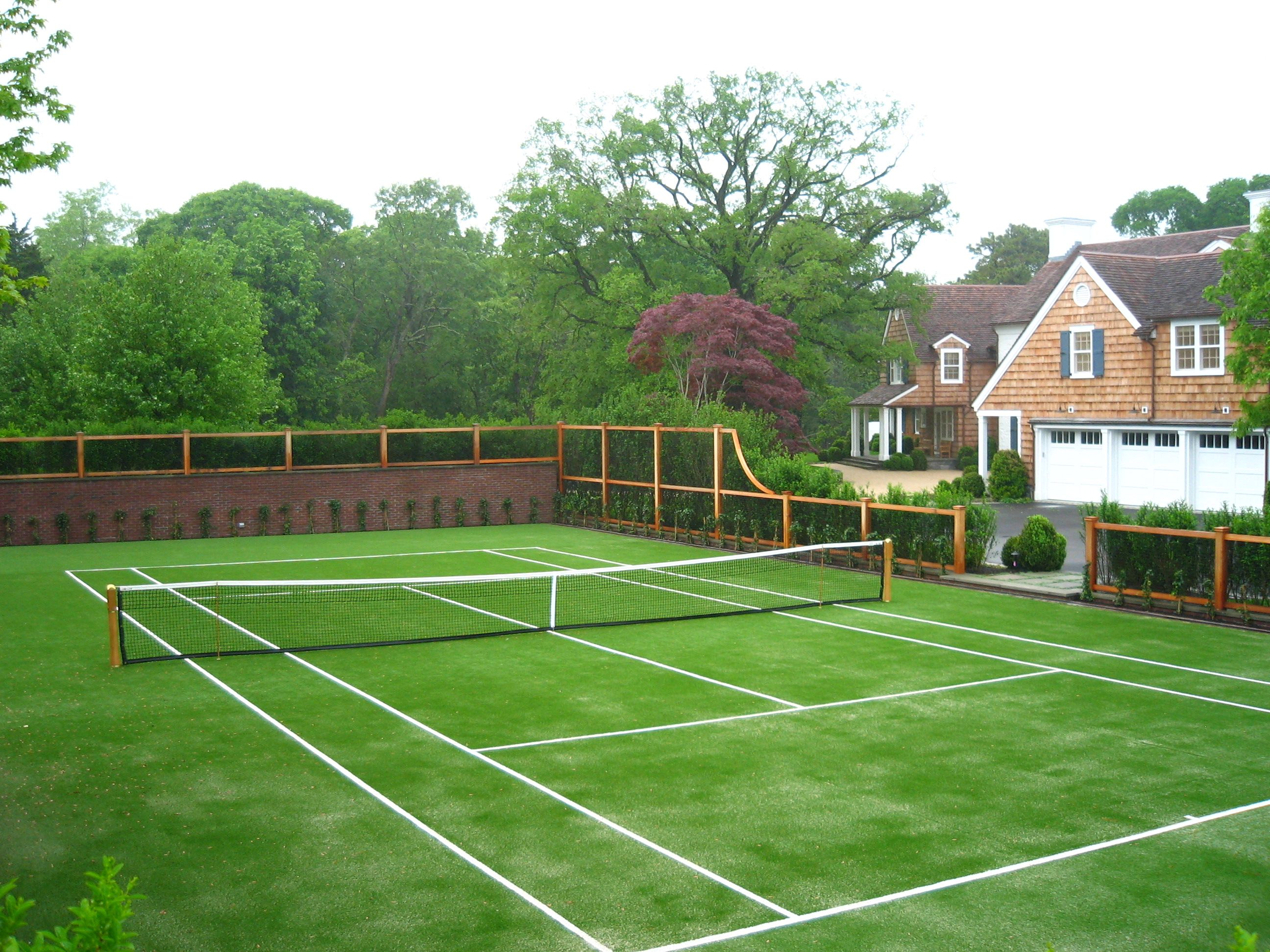 Backyard Tennis Court i like tennis, anyone ever played on grass? hamptons beauty | new