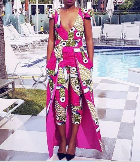 Afrique / Ankara Print Combinaison Avec Cape Taille