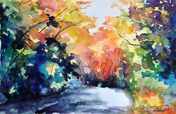 Acuarela otoño paisaje pintura original arces por ArtCornerShop