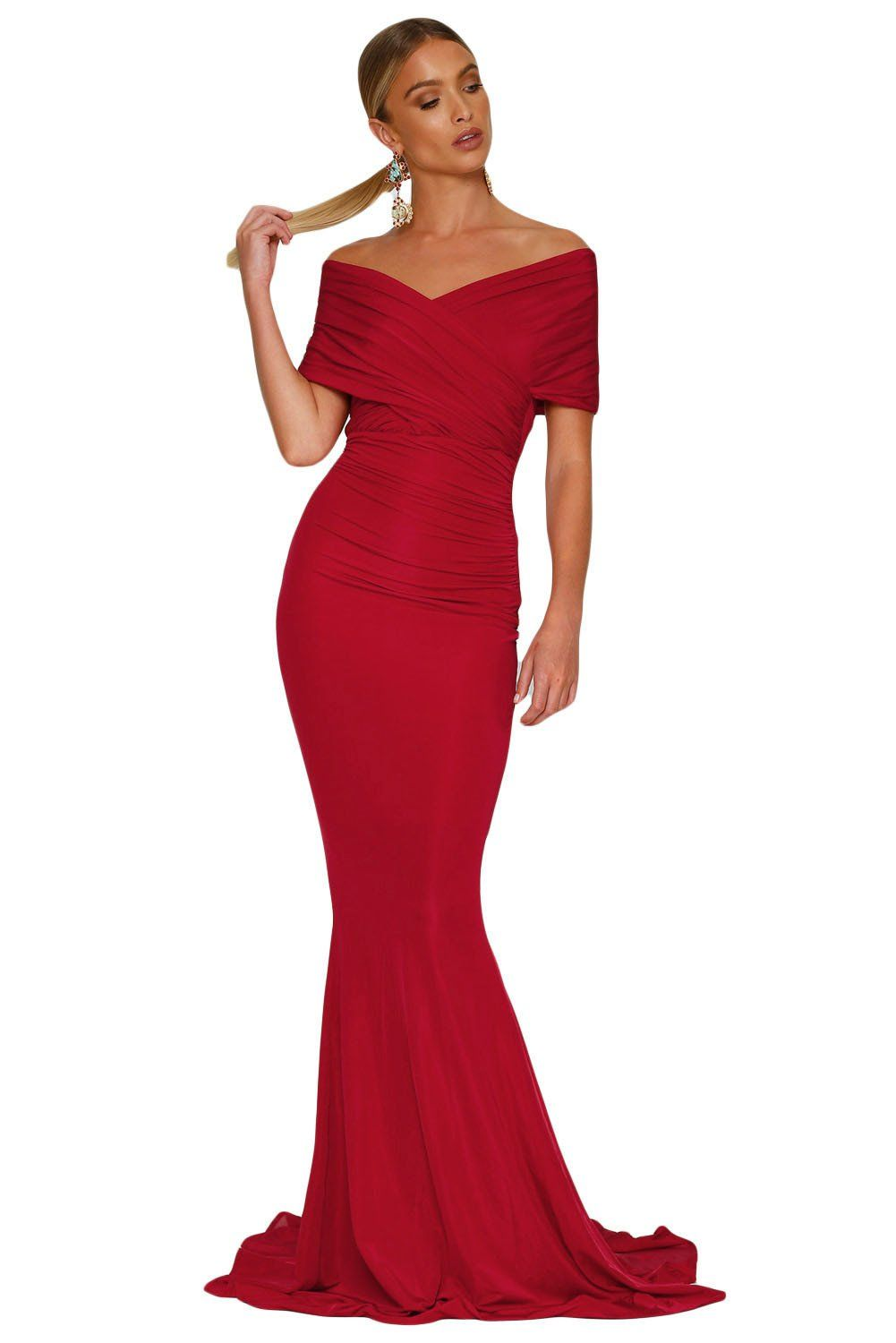 Red offshoulder mermaid wedding party gown in the wedding i