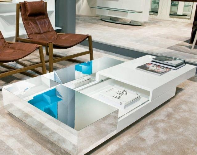 design couchtische dunktional weiß verglaste tischplatte - couchtisch weiss design ideen